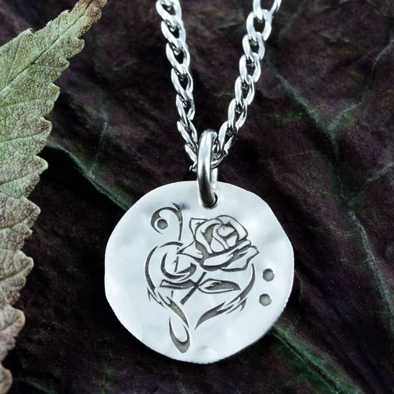 Rose and Music Note Silver Necklace, Hammered and Engraved Silver Disk or coin. by NameCoins on Etsy https://www.etsy.com/listing/464082558/rose-and-music-note-silver-necklace