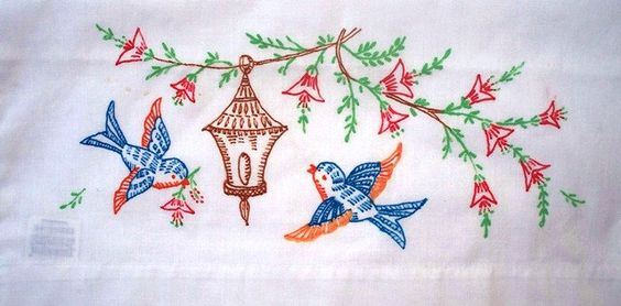 Reserved for doris vintage pillowcase bluebirds liquid
