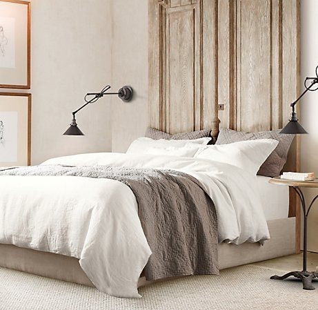 white, grey, tan.  casual, cozy, messy bed.