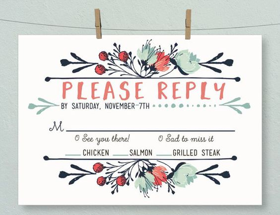 Boho Floral Country Wedding Reply Card   by LetterLoftPrints