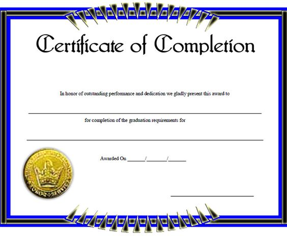 Certificate of completion template 25 certificate of completion template 25 pinterest yelopaper Images