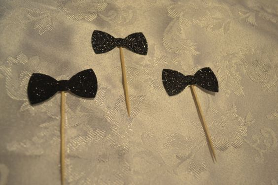 Black Glitter Bow Tie Cupcake Cake Toppers  Wedding by TypeWright