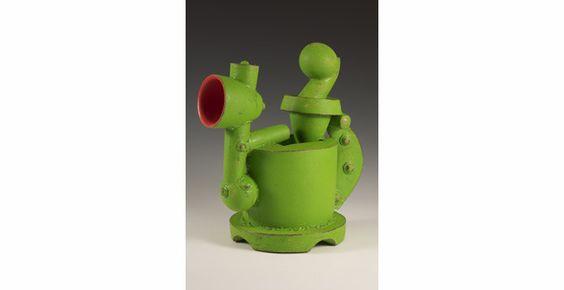 """Doug Herren, Industrial Teapot II, 15"""" x 15"""" x 7.5"""", Ceramic, enamel paint, 2010"""