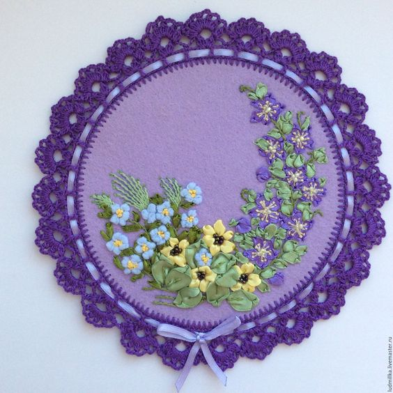 """Купить Вышивка лентами """"Цветочная лужайка"""" - Вышивка лентами, вышивка цветами, подарок девушке"""