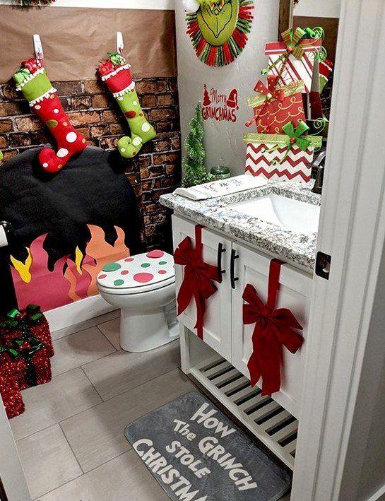 Christmas Bathroom Decor Set Beautiful 150 Amazing Christmas Bathroom Decorations That Will Ama Christmas Decor Diy Christmas Bathroom Decor Christmas Bathroom