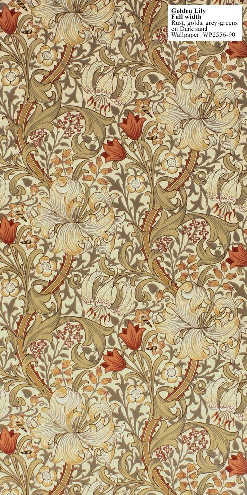 William Morris Golden Lily Wallpaper Pattern Pinterest