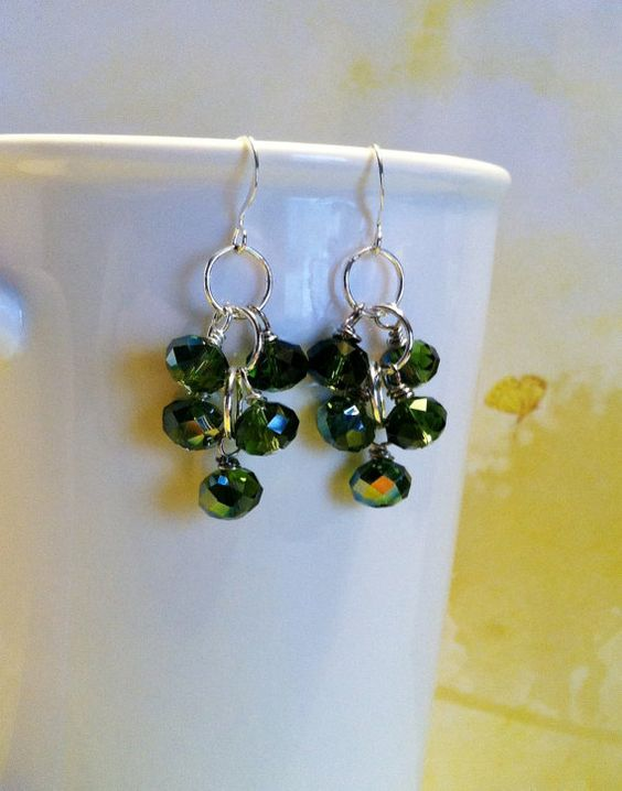 Silver Chandelier Earrings with Green Faceted by SmockandStone, $17.00