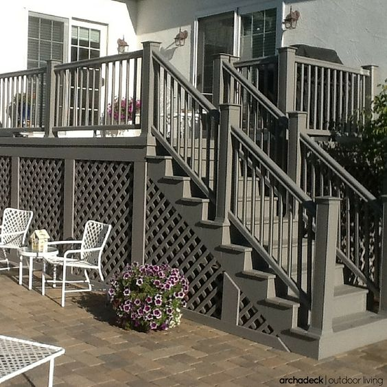 Grey Panelling Under Stairs: If Your Deck Is Built At Higher Elevations, You Should