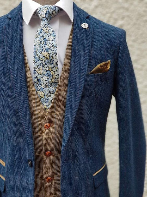 Marc Darcy Dion Men's Blue Slim Fit Check Tweed Suit with Ted Tan Waistcoat | Marc Darcy | – menswearr.com