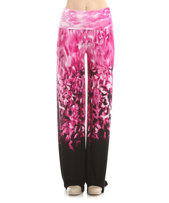 Look what I found on #zulily! Pink & Black Watercolor Palazzo Pants by The Bloom #zulilyfinds