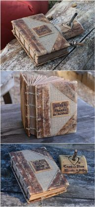 vintage look burlap and leather journal wedding guest book