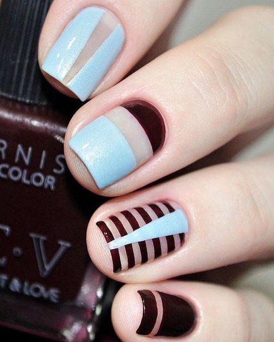 Mismatched nail art