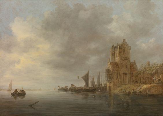 Jan Josefsz van Goyen - River Landscape with the Pellekussenpoort, near Utrecht.