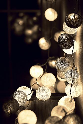 String Lights Ping Pong Balls : These look like the ping pong ball lights just distressed. Cool. You could probably paint it and ...