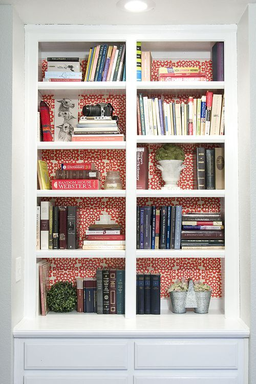 Wallpaper Behind The Shelves For The Home Pinterest