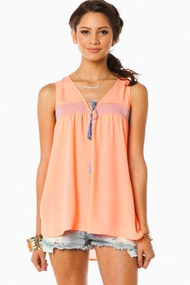 Melane Tank in Neon Peach - ShopSosie.com