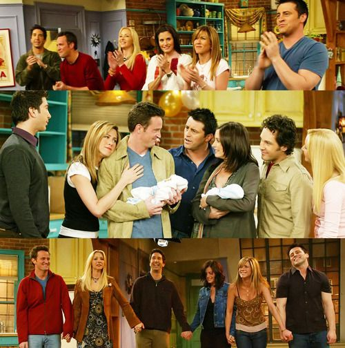 Friends, The End. Not gonna lie, I cried at this episode. They should make one now like what happened with Ross and Rachel and where Monica and Chandler live and if Phoebe is married