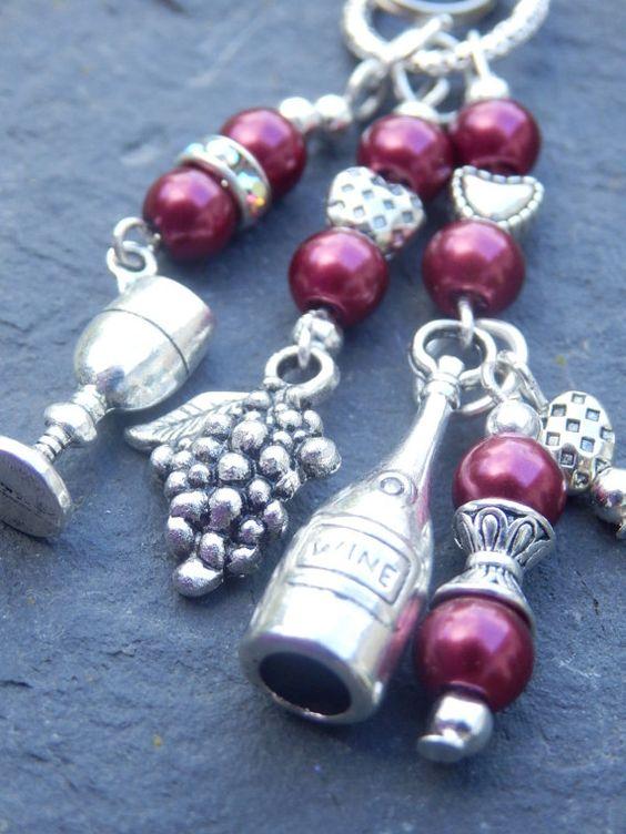Bag Charm Purse Charm Wine Drinker Key Ring by WarwickStoneJewels