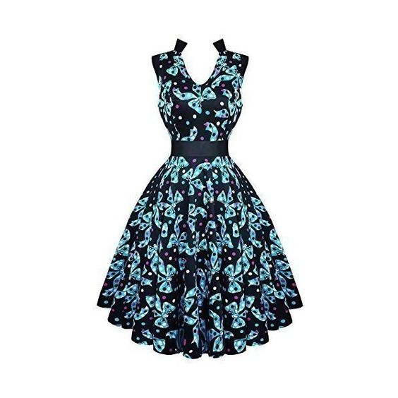 Hearts and Roses London Kitsch Blue Bow 50s Vintage Tea Party Dress:... ($56) ❤ liked on Polyvore featuring dresses, rosette dress, blue vintage dress, blue cocktail dress, rose dress and tea dress