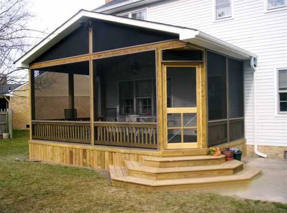 Diy decks and porch for mobile homes screened in porches for Mobile home enclosed porch
