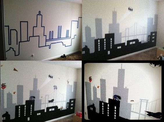 Gotham gotham city and wall murals on pinterest for City themed bedroom ideas
