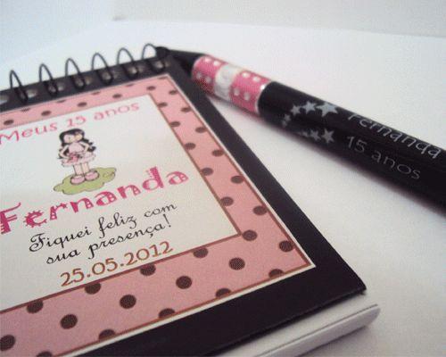 Caderneta e caneta personalizada 15 anos (caixa com 50 unidades)