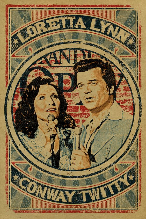 Loretta Lynn and Conway Twitty Poster. 12x18. Coal Miners Daughter. Duet. Duo. Country Music. Kraft paper. Knoxville. Nashville. TN.