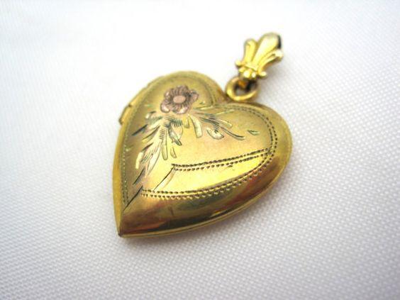 Vintage Heart Locket  10kt Gold Fill by VintageInBloom on Etsy, $18.00