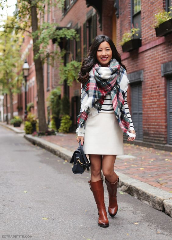 White H&M skirt, sheer brown tights, brown boots. Tops: try Navy or green with tan or white cardi