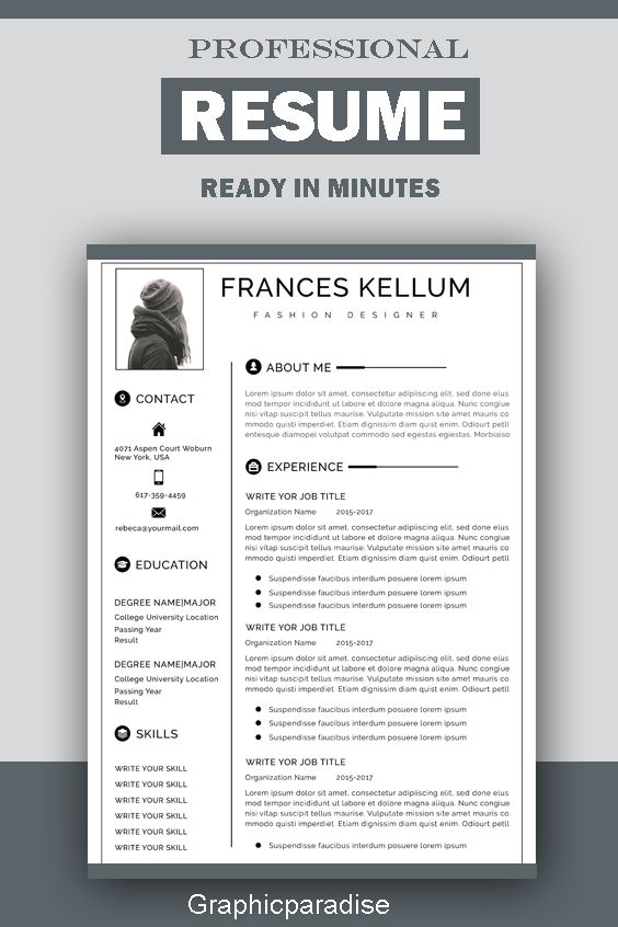 Resume Template Instant Download Professional Resume Template