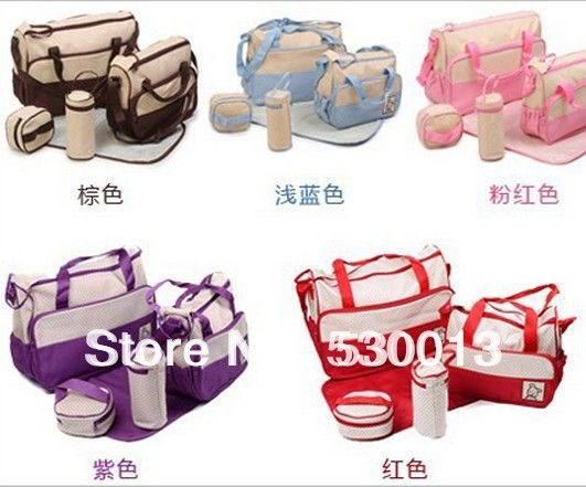 (Buy here: http://appdeal.ru/1eya ) 2014 Hot Sale 5 Sets Fashion Multifunctional Mommy Sack Mother Pregnant Wrappe Mother for Baby Diaper Nappy Bags Large Capacity  for just US $29.98