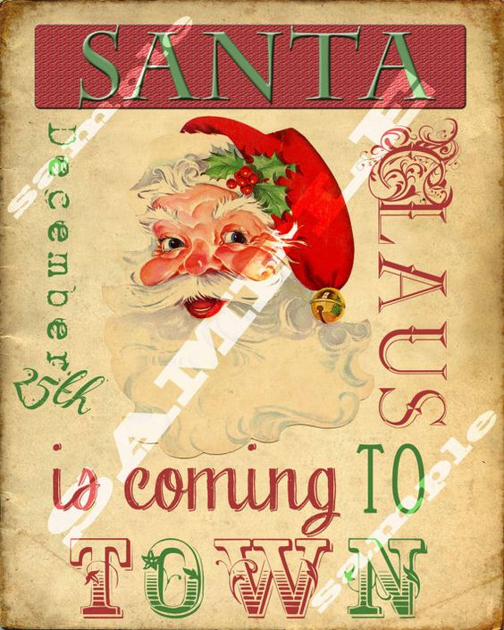 Retro Vintage Style Santa Claus is Coming to by tinyblessingstx, $3.99