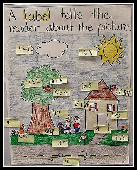 had the kids turn and talk about why it's important to label things. We decided that labels help us know what is inside of a box, and labels help us know what pictures are in our illustrations. We made this label anchor chart.