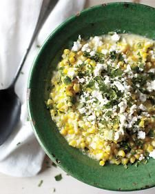 8/18/12 - Mexican Creamed Corn - corn, jalapeno, cilantro and feta.  This was a winning recipe!! Very quick to throw together and delicious.  I'm dreaming about leftovers now... :)
