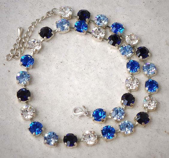 Swarovski crystal 8mm tennis style choker necklace,lovely blues,indigo,capri blue,light sapphire