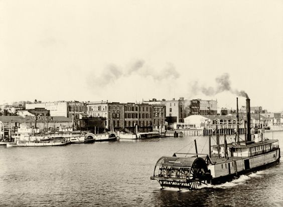 Portland waterfront looking northwest In 1870, Portland is a bustling city of more than 8,000 people, with a  growing center of commerce and industry on the west side of the  Willamette River.  Portland, Oregon