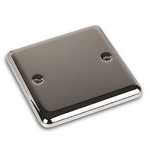 Volex Brushed Stainless Single One Gang Blank Plate/Socket Cover - Rounded Edge