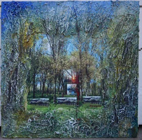 Coucher de soleil sur arbres  en fleurs- Bas reliefs en cellulose , avec  rehauts  de peinture  et photographie  numérique