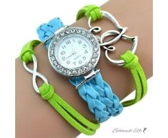 Damen Armbanduhr Herzen mit Strass Kunstleder türkis kiwi