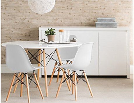 Set Of Four 4 White Eames Style Side Chair With Natural Wood