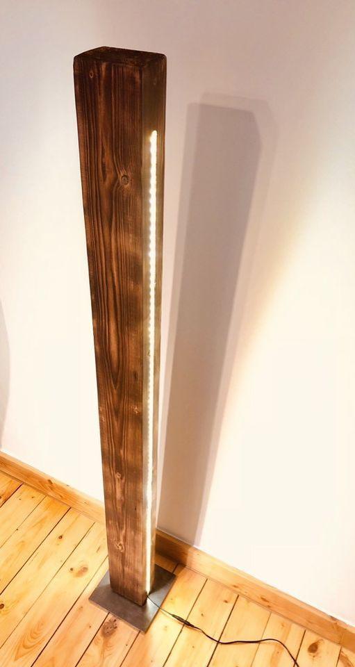 Stehlampe Holzlampe Led Stehleuchte Dekolampe Vintage Holz 150cm