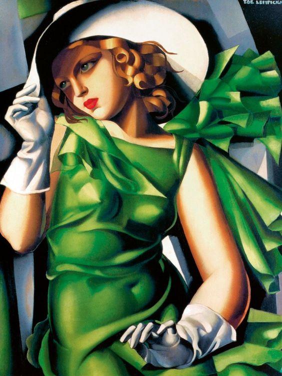 Tamara de Lempicka, ( 1898 -1980) was een Poolse art deco-schilderes. Tamara de Lempicka, Jeune fille en vert, 1930.