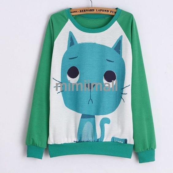 Korean Animal Print Long Sleeve O Neck Large Size Hoodies Women Sweater Tops | eBay