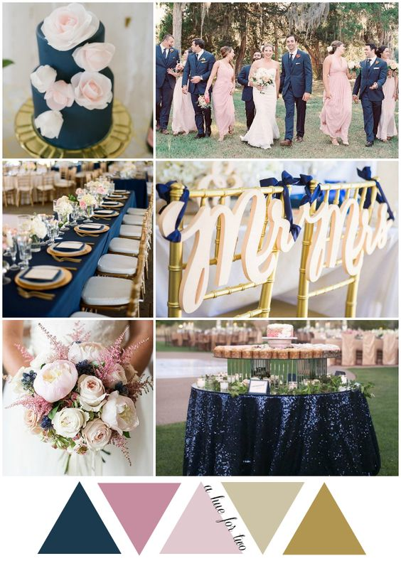 Navy, Blush and Gold Garden-Inspired Wedding Color Scheme - Wedding Planning - Wedding Colours - A Hue For Two - www.ahuefortwo.com