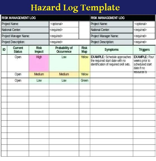 9 Hazard Log Template Templates Health And Safety Risk Management