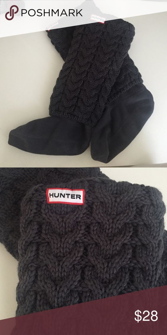 LIKE NEW Hunter Welly Socks Like new never worn! Charcoal grey fleece Welly socks with long cable knit fold over layer. Size MM (fits shoe size 5-7). Hunter Boots Accessories Hosiery & Socks