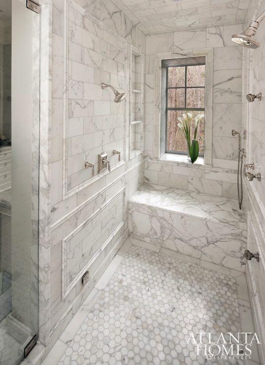 Calcutta gold Marble Shower - Transitional - bathroom - Atlanta Homes & Lifestyles