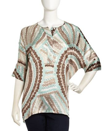 Geometric-Print Silk Tunic by Lafayette 148 New York at Last Call by Neiman Marcus.