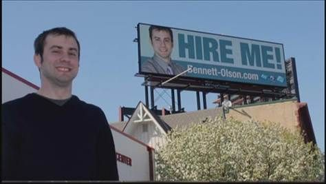 Nice personal PR stunt: unemployed man hires space on billboard to promote himself... and gets a job