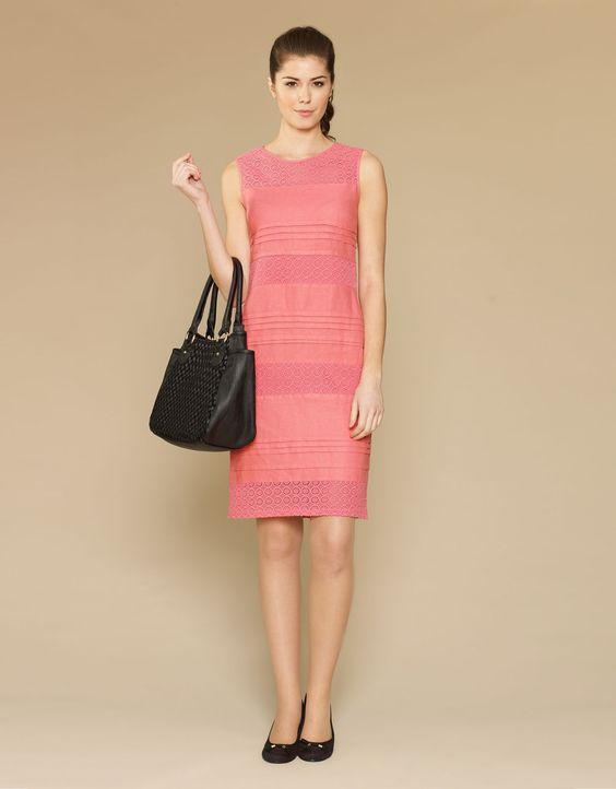 Heidi Lace Insert Linen Dress - Pink - Monsoon - Fashion ...